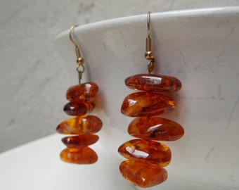 Vintage Chunky Polish Amber Dangle Earrings