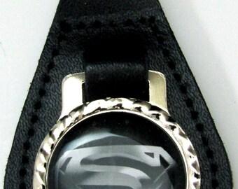 Black & Silver Superman Logo Leather Key Fob Chain Steel Ring FOB-0034