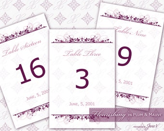 Table Number Template Printable | DIY Wedding Table Number Download | Flourishing in Plum & Mauve