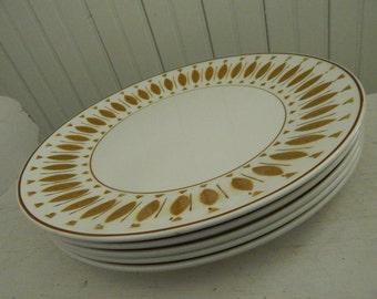 Mikasa Cera-Stone Maui Modernist Autumn Leaf Pattern #3059 Dinner Plates - Vintage 1950s Dinner Plates - Mid Century Modern Dinnerware
