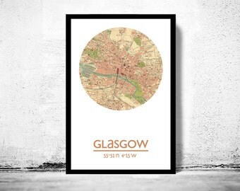 GLASGOW - city poster - city map poster print