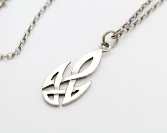 "Sterling Silver Pierced Celtic Knot Pendant Necklace 18"". [6116]"