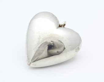 JUMBO Vintage Sterling Silver Puffy Heart Statement Pendant 27g. [6626]