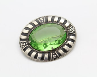 Unusual Vintage Oval Brooch with Green Rhinestone in Brass and Sterling Silver. [9462]