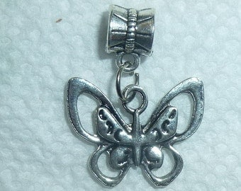 Dangle Butterfly #2 Silver for Bracelets, Floating Charm Pendants, Necklaces & Keychains  D029
