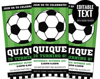 Editable Soccer Ticket Invitation Template - Printable Sports Invite. Soccer Team Party - Kids Birthday. Football Instant Download
