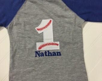 Boys first birthday shirt, Baseball one birthday shirt, custom 1st birthday shirt, boys baseball 1, Raglan royal blue shirt, custom birthday