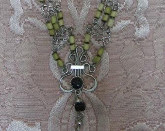 Sodalite and Peruvian Bamboo Necklace #34