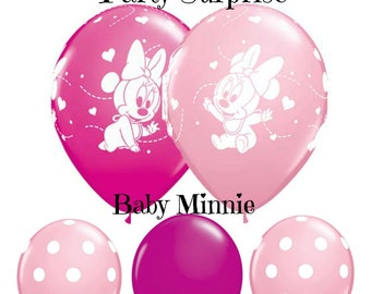 "Baby Minnie Mouse Balloons 11"" latex, Girl Baby Shower 1st Birthday Party Gender Reveal Toddler Birthday Minnie Mouse Party Balloons"