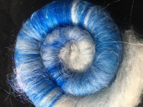 Mixed Fibers Blue Rolag