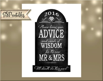 Halloween Wedding Advice Gravestone Sign Printable Digital File - 2 sizes - INSTANT DOWNLOAD - Goth or halloween weddings tombstone sign