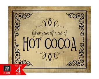 Hot Cocoa Bar Wedding Sign - Hot Chocolate bar - 4 sizes with purchase - DIY instant download - Vintage Black Tie Collection