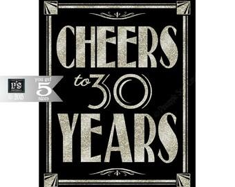 Printable 30th birthday sign - Art Deco - Great Gatsby - 1920's theme - digital file - DIY - black and glitter silver