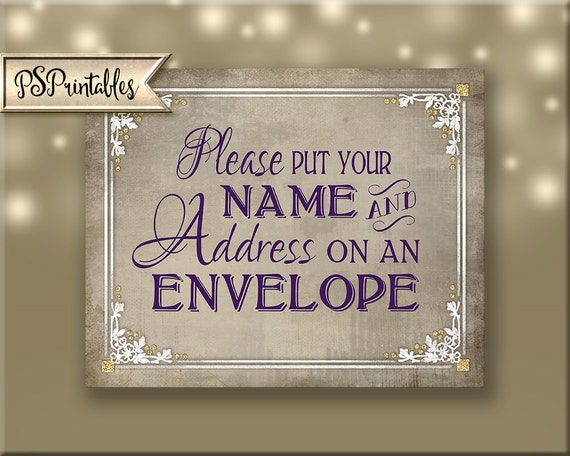 Please Put Your Name And Address On An Envelope Wedding Sign