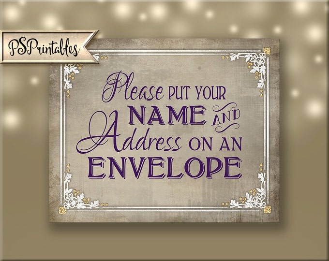 Please put your name and address on an Envelope Wedding Sign- Printable wedding sign in purple plum white and cream - Old Lace Collection