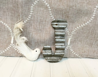 """Small Metal Letters/Letter J/5 1/2"""" Galvanized Metal Letters/Wall Letters/SSLID0087/Rustic Wedding/ Wall Decor/Capital Letter/Wall Decor"""