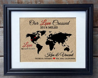 Long Distance Relationship Burlap Print | Military Deployment Print | Rustic Home Decor | Long Distance Love Sign | Gift for Girlfriend