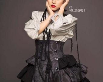Gothic Lolita High-Waist Skirt + High-neck Shirt