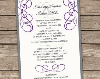 Classic Printable Wedding Invitation, Elegant Printable Wedding Invitation, Swirl Printable Wedding Invitation, Simple Wedding Invitation
