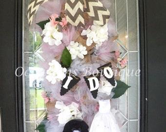 Sale! Wedding Decoration, Bridal Shower Decoration, Wedding Swag, Deco Mesh Door Swag, Bridal Shower Decor, Made to Order