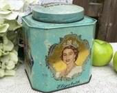 Mid Century Blue Australian Coronation Tea Tin litho box, Queen Elizabeth II, Bushell's, Prince Philip Duke of Edinburgh, England, canister