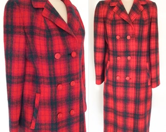 MAD 4 PLAID Vintage 60s Leslie Raymond Bright Red and Purple Harris Tweed Wool Double Breasted Winter Coat