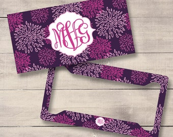 Purple Floral Monogram License Plate and Frame, Personalized License Plate, Monogram Car Tag, Purple License Plate, Girly Car Tag (0005)