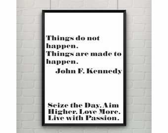 John F. Kennedy motivationa quote warhol like poster on paper (from US Letter and A4 up to A0 size) or rolled canvas