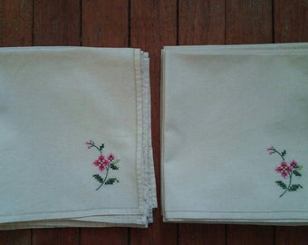 12 Vintage Hand Embroidered Napkins with Pink Flowers