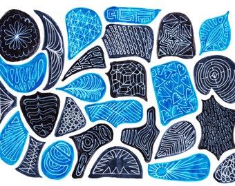 "Art Print - Black and Blue Shapes 11""x14"" Digital Download"