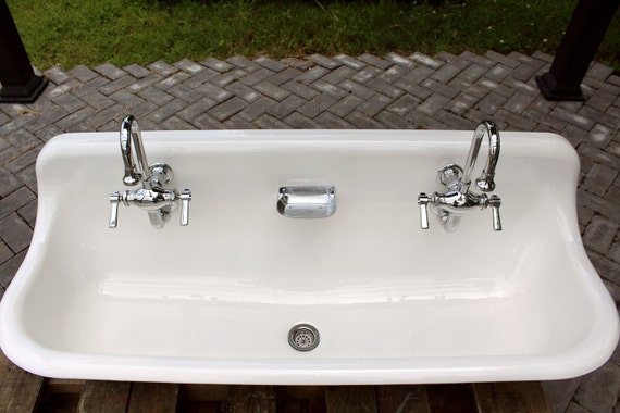 Large 48 antique inspired kohler farm sink green blue cast iron porcelain trough sink package - Cast iron sink weight ...