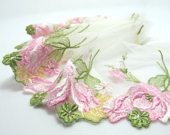 6 5/16 Inches Extra Wide Lace|Spring Themed Green and Pink Floral Lace|Embroidered Lace Trim|Material|Clothing Ribbon|Hairband|Accessories