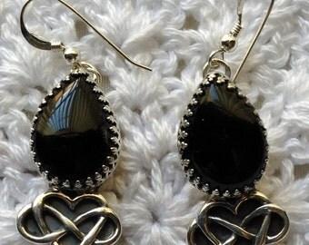 Black Onyx Tear Drop Earrings with Infinity Heart