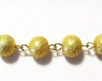 RTS Textured Gold Glass Pearl Sweater Handmade 10mm Glass Pearl Chain