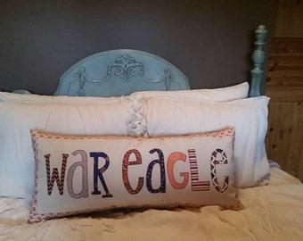 Made to order - Auburn University 'War Eagle' decorative applique pillow