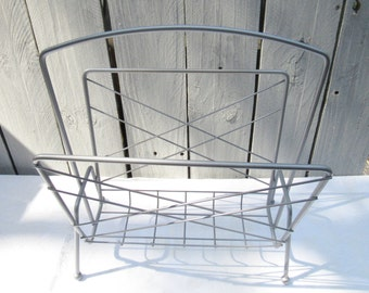 Mid Century Record Rack, Hammered Metal finish magazine rack, silver grey record holder, upcycled magazine rack, MCM storage, record display
