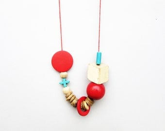 Coupon Code, Beige, Red and Blue Necklace, Wood Necklace, Ceramic Necklace, Geometric Necklace, Tribal Necklace, Bold Necklace