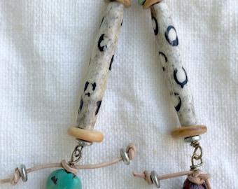 Tribal Dangle Spotted Earrings