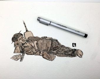 KillerBeeMoto: Original Pen Sketch With Water Color of Geisha Sleeping