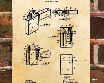 KillerBeeMoto: Duplicate of Original U.S. Patent Drawing For Vintage Zippo Lighter