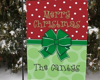 Personalized Christmas Garden Flag, Merry Christmas Yard Flag