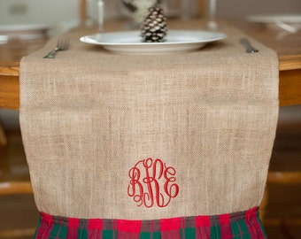 Monogrammed Christmas Table Runner, Personalized Christmas Table Runner