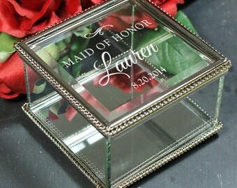 Personalized Jewelry Box, Glass Jewelry Box, wedding party gift