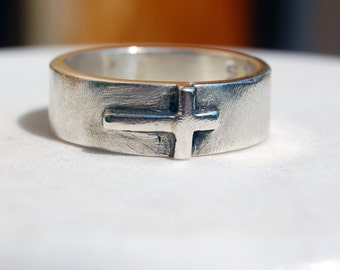 SILVER CROSS RING  - Silver Band with Silver Cross - For Men and Women