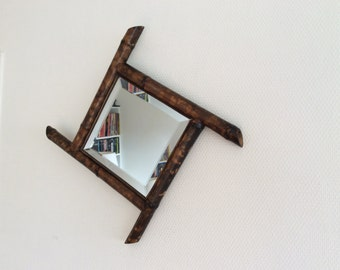 Antique mid century French mirror / bambou