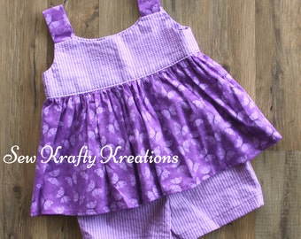 Little Girl's 2 Piece Set - Purple Stripes with Purple Butterflies and Purple Striped Cotton Shorts