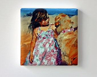 Tiny Canvas | Puppy Love | Dog Art | Canvas Print | Wall Art | Girl with Dog | Small Art Print | Present | Collectible Art | Miniature Art