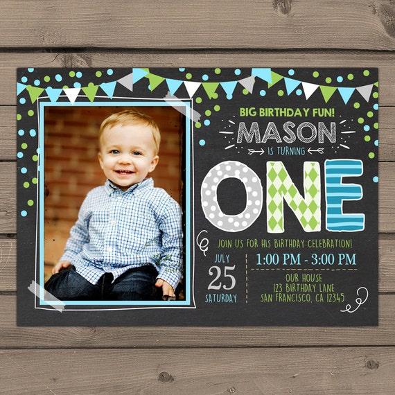 First Birthday Party Invitation Boy Chalkboard: First Birthday Invitation Boy Birthday Invitation 1st Birthday