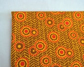 Herringbone floral cotton fabric 2.51 yards 70's vintage boho orange and brown flowers and dots fabric by the yard