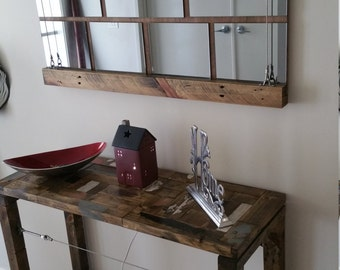Hall/Entry Table & Matching Mirror - Reclaimed wood, modern/industrial style